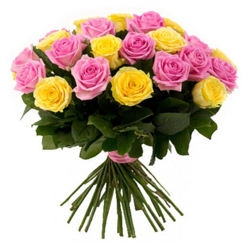 Букет из 25 розовых и желтых роз