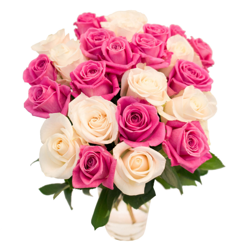 Букет из 9 белых и розовых роз